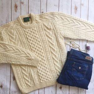 Hand knit cream Irish wool sweater